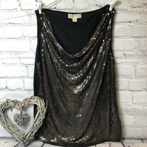 Michael Kors Women's XL Black Gold Sequin Top Shir